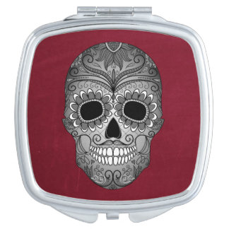 Retro Day of the Dead Sugar Skull on Red Mirror For Makeup