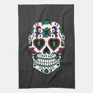Retro Day of the Dead Sugar Skull Tea Towel