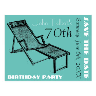Retro Deckchair 70th birthday Party Save the Date Postcard