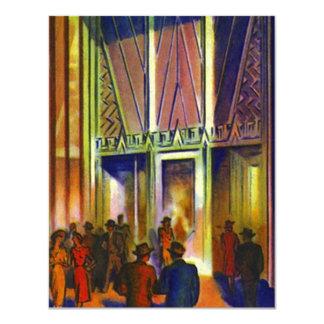 Retro Deco Invitations Department Store City-scape