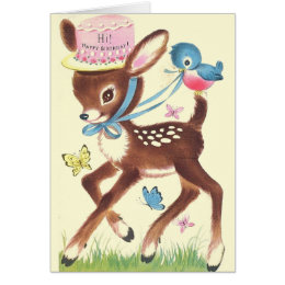 Vintage deer birthday cards invitations zazzle retro deer and blue bird birthday greeting card bookmarktalkfo Image collections