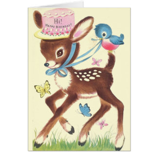 Retro Deer And Blue Bird Birthday Greeting Card
