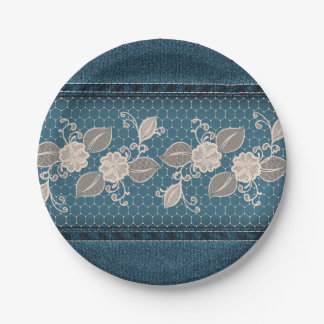 Retro Denim Texture with Lace Paper Plate