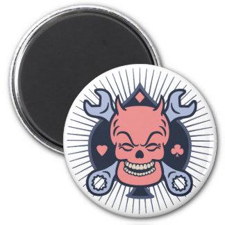 Retro Devil Skull Wrenches Refrigerator Magnets