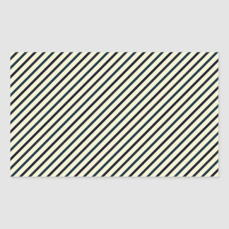 Retro Diagonal Stripes - Blue on Yellow Rectangle Sticker