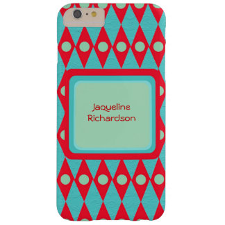 Retro Diamond Argyle Pattern Personalized Name Barely There iPhone 6 Plus Case