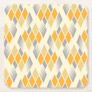 Retro diamond pattern 3 square paper coaster