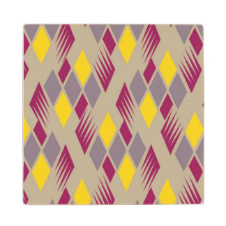 Retro diamond pattern 4 wood coaster