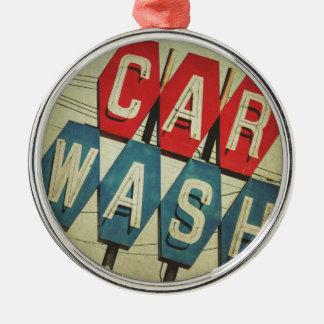 Retro Diamond Shaped Car Wash Sign Christmas Ornament