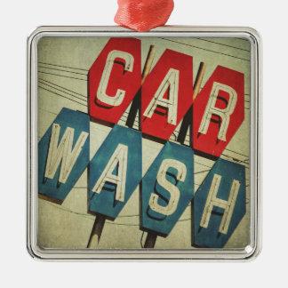 Retro Diamond Shaped Car Wash Sign Silver-Colored Square Decoration