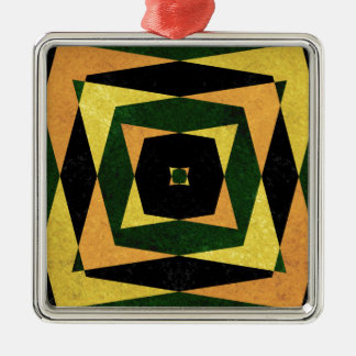 Retro diamond shapes pattern christmas ornament