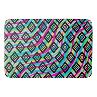 Retro Diamonds and Neon Waves Colorful Bath Mat