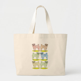 RETRO different coloured pug dogs Jumbo Tote Bag