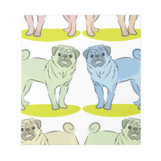 RETRO different coloured pug dogs Notepads