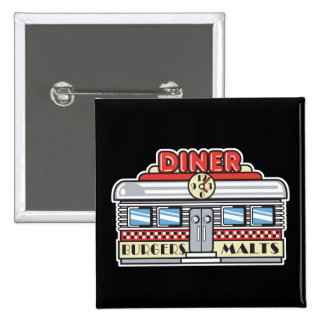 retro diner design 15 cm square badge