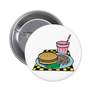 retro diner fast food meal 6 cm round badge