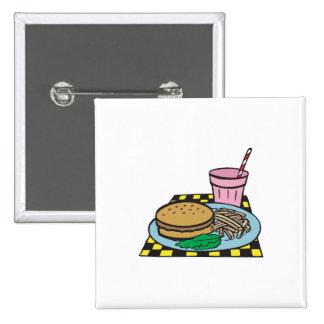 retro diner fast food meal 15 cm square badge