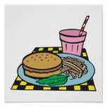 retro diner fast food meal poster