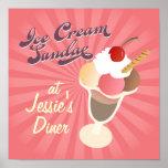 Retro Diner Poster Ice Cream Sundae