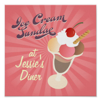 Retro Diner Poster Ice Cream Sundae