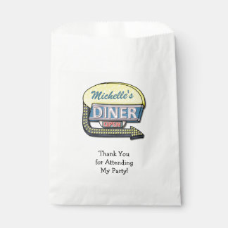 Retro Diner Sign 50s Party Theme Personalized Name Favour Bags