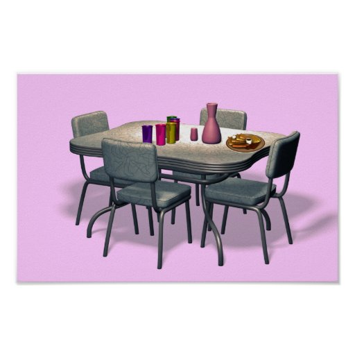 Retro Diner table and chairs Print
