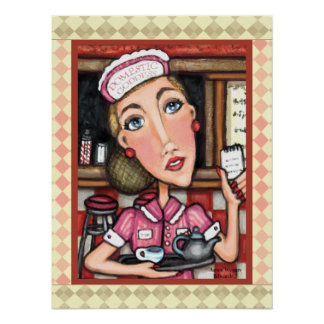 Retro Diner Waitress Diva Art Print