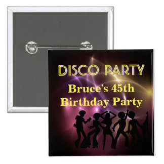 Retro Disco Party Theme Button