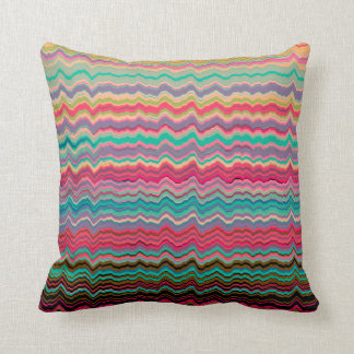 Retro distorted lines pattern throw pillow