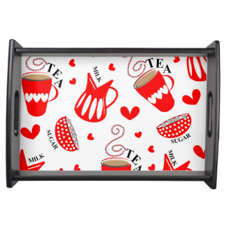 Retro Ditsy Tea Themed Red and Black Cute Pattern Serving Tray