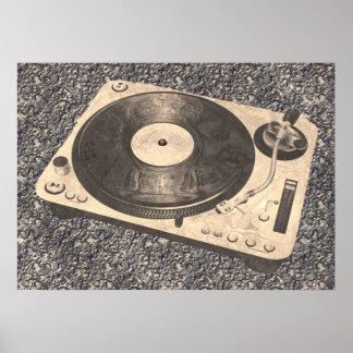 Retro DJ Turntable Grunge Look Poster