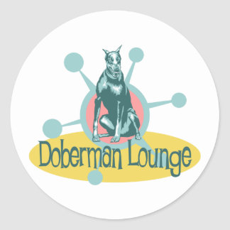 Retro Doberman Lounge Classic Round Sticker
