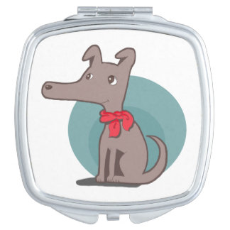 Retro Dog With a Red Scarf Mirror For Makeup