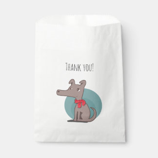 Retro Dog With a Red Scarf Thank You Favour Bags
