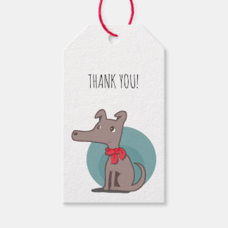 Retro Dog With a Red Scarf Thank You Gift Tags