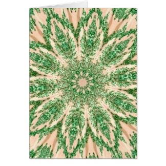 Retro Doily Green Beige Kaleidoscope Greeting Card
