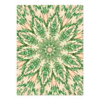 Retro Doily Green Beige Kaleidoscope Custom Invitation