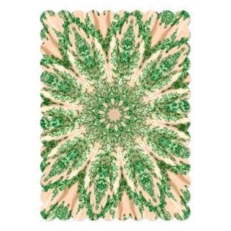 Retro Doily Green Beige Kaleidoscope Custom Invites