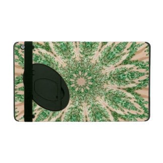 Retro Doily Green Beige Kaleidoscope iPad Folio Cases
