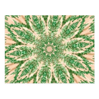 Retro Doily Green Beige Kaleidoscope Post Cards