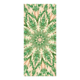 Retro Doily Green Beige Kaleidoscope Rack Card