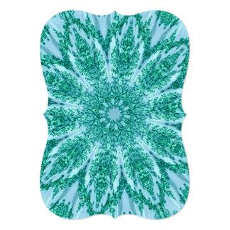 Retro Doily Green Teal Kaleidoscope Custom Invitation Cards