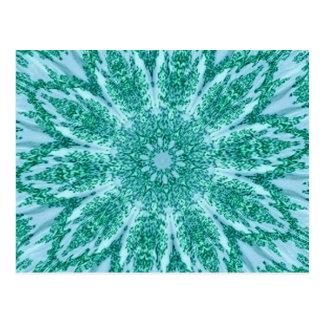 Retro Doily Green Teal Kaleidoscope Post Cards