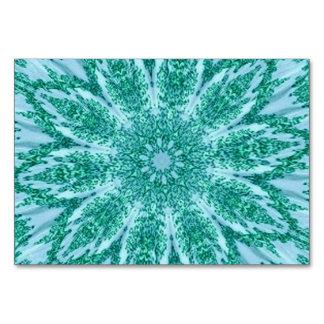 Retro Doily Green Teal Kaleidoscope Table Card