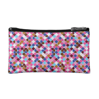 Retro dot check mosaic pink pattern cosmetic bags
