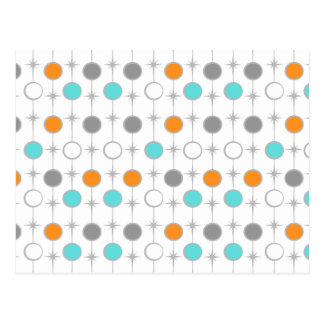 Retro Dots and Starbursts Postcard