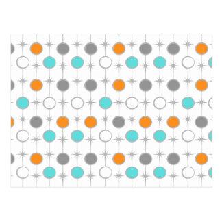 Retro Dots and Starbursts Postcard