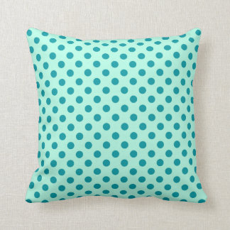 Retro dots - aqua and turquoise throw pillow