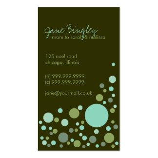 Retro Dots Aqua Green Mommy Business Card