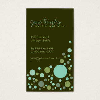 """Retro Dots"" Aqua & Green Mommy Business Card"